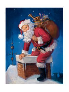Santa in Chimney by Susan Comish