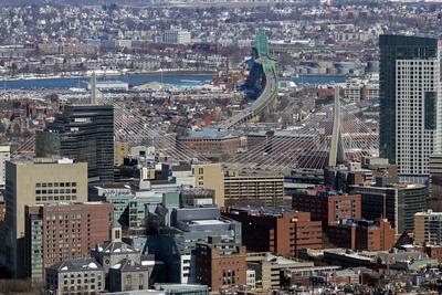 Aerial view including Leonard P Zakim Bunker Hill Memorial Bridge, Boston, Massachusetts.