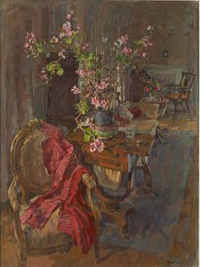 Red Coat with Geranium by Susan Ryder