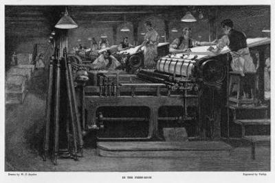 Men Working at Printing Presses Under the Glare of Electric Light