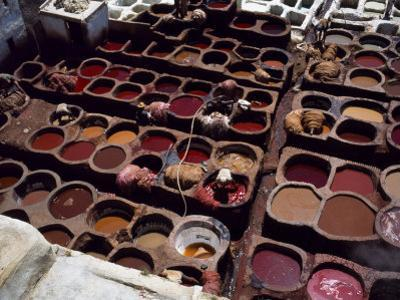 Workers in the Dyeing Pits of a Leather Tannery, Fez, Morocco