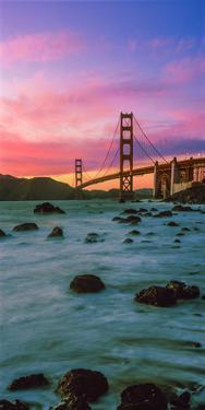 Suspension Bridge across a Bay at Dusk, Golden Gate Bridge, San Francisco Bay, California