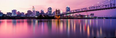 Suspension Bridge across the Ohio River with Skyscrapers in the Background, Cincinnati, Ohio, USA
