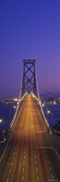 Suspension Bridge Illuminated at Night, Bay Bridge, San Francisco, California, USA