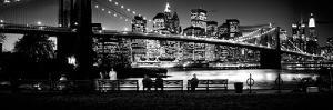 Suspension Bridge Lit Up at Dusk, Brooklyn Bridge, East River, Manhattan, New York City