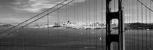 Suspension Bridge with a City in the Background, Golden Gate Bridge, San Francisco, California, USA