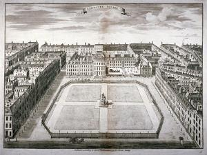 Aerial View of Leicester Square with Carriages, Westminster, London, 1754 by Sutton Nicholls