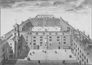 Bird's-Eye View of Bridewell with Figures Walking in the Quadrangle, City of London, 1750 by Sutton Nicholls