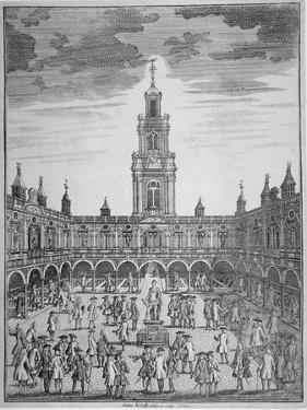 Interior View of the Royal Exchange with Merchants, City of London, 1729 by Sutton Nicholls