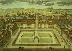 """Soho or King's Square, for """"Stow's Survey of London,"""" Published 1754 by Sutton Nicholls"""