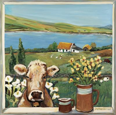 Cow in Window by Suzanne Etienne