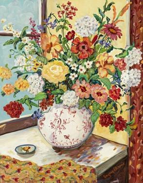 Flowers in Red and White Vase by Suzanne Etienne