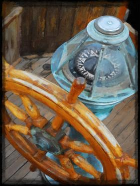 Old Sailboat's Ship Wheel by Suzanne Foschino