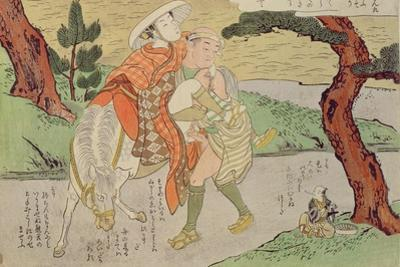A 'Shunga', from a Series of Twenty Four Erotic Prints: Lovers on the Road, 1725-70 by Suzuki Harunobu
