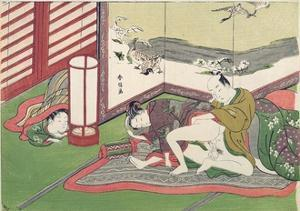 A 'Shunga', from a Series of Twenty Four Erotic Prints: Lovers with a Child Looking On, 1725-70 by Suzuki Harunobu