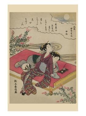 Blossoming Plants under an Autumn Moon by Suzuki Harunobu