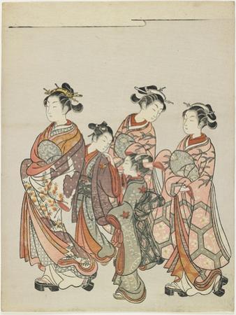 Courtesan with Attendants on Parade, after 1766 by Suzuki Harunobu