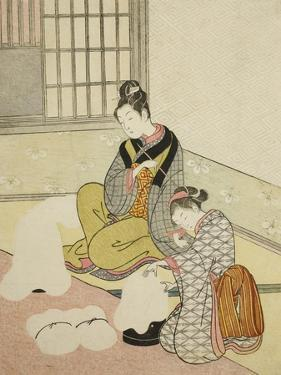 Evening Snow on a Floss Shaper , from the series Eight Views of the Parlor , c.1766 by Suzuki Harunobu