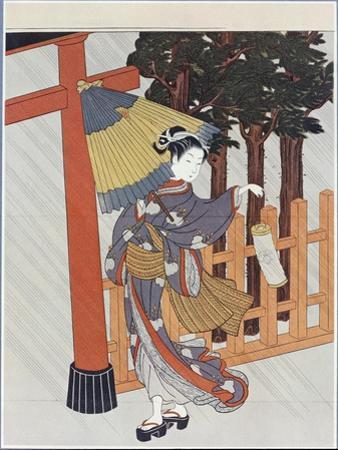 Geisha Visiting a Shrine by Suzuki Harunobu