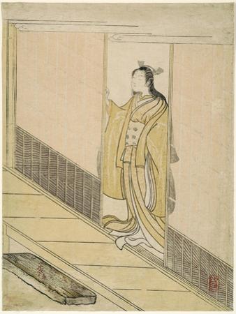 """Parody of Kawachi-goe from """"Tales of Ise"""", 1765 by Suzuki Harunobu"""