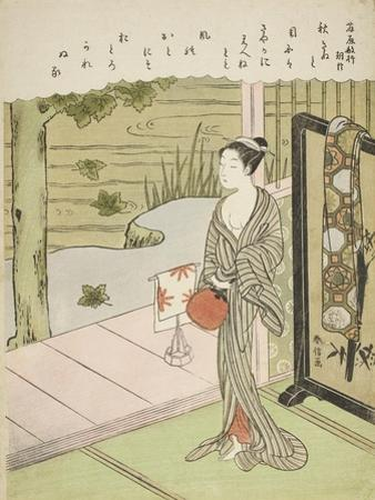 Poem by Fujiwara No Toshiyuki, from an Untitled Series of Thirty-Six Immortal Poets, C.1767-68 by Suzuki Harunobu