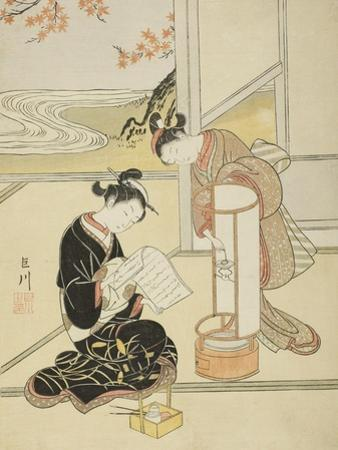 The Evening Glow of a Lamp , from the series Eight Views of the Parlor , c.1766 by Suzuki Harunobu