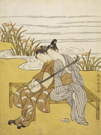 Two Lovers Playing a Shamisen by Suzuki Harunobu