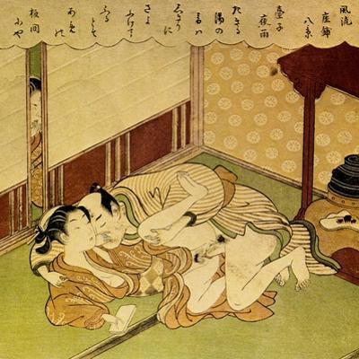 Two Lovers (Shunga - Erotic Woodblock Prin), C. 1750 by Suzuki Harunobu