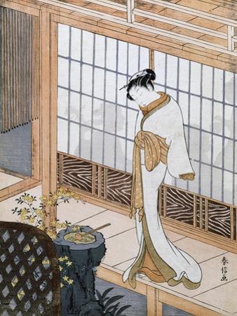 Woman in Winter Coat by Suzuki Harunobu