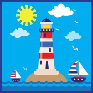 Lighthouse,Sea,Yacht,Landscape,Vector,Cartoon,Illustration by Svetlana Peskin
