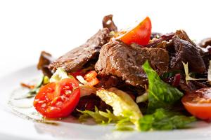 Veal and Mushrooms Salad with Mixed Salad Leaves and Cherry Tomato by svry