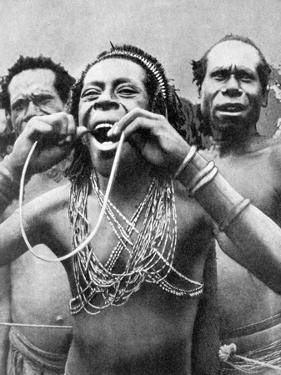 Swallowing Canes in a Ceremonial Ritual, New Guinea, 1936