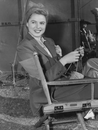Swedish Actress, Ingrid Bergman Knitting on a Rko Set Ca