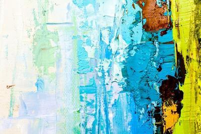 Abstract Art Background. Oil Painting on Canvas. Color Texture. Fragment of Artwork. Spots of Oil P