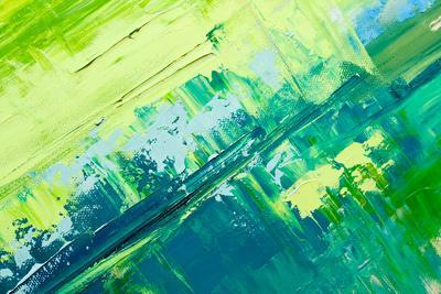 Abstract Art Background. Oil Painting on Canvas. Green and Yellow Texture. Fragment of Artwork. Spo