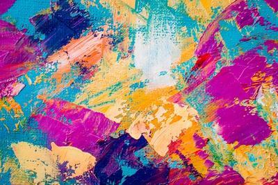 Hand Drawn Oil Painting. Abstract Art Background. Oil Painting on Canvas. Color Texture. Fragment O