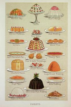 Sweets, Colour Plate from Mrs Beeton's Everyday Cookery and Housekeeping Book, Pub.1890