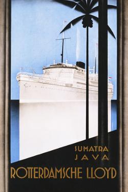 Rotterdamsche Lloyd Poster by Johann Von Stein by swim ink 2 llc