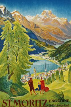St. Moritz Poster by Carl Moos by swim ink 2 llc