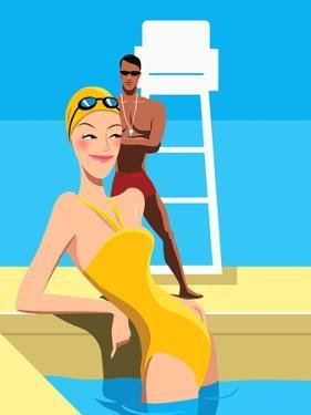 Swimmer Looking at Lifeguard