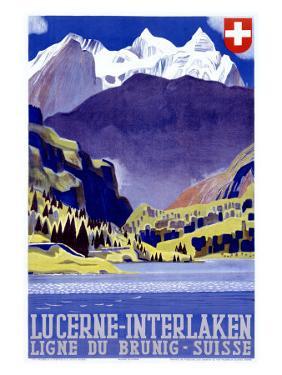 Swiss Alps Lucerne Travel Poster