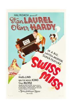 Swiss Miss, Stan Laurel, Oliver Hardy on US poster art, 1938