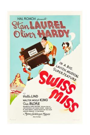 Swiss Miss, Stan Laurel, Oliver Hardy on US poster art, 1938