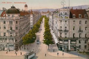 Bahnhofstrasse, Zurich. Postcard Sent in 1913 by Swiss photographer