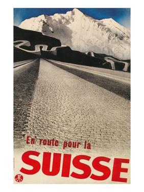 Swiss Travel Poster, Road to Alps
