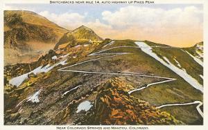 Switchbacks up Pike's Peak, Colorado
