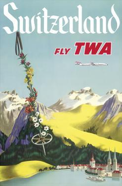 Switzerland - Lake Lucerne Swiss Alps - Fly TWA (Trans World Airlines)