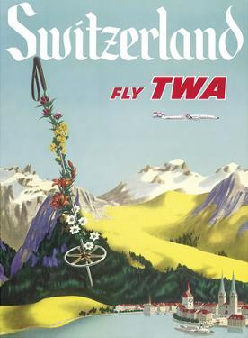 Switzerland - Lake Lucerne Swiss Alps - Fly TWA (Trans World Airlines)