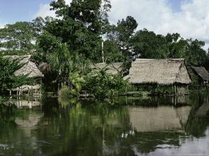 Building on Stilts Reflected in the River Amazon, Peru, South America by Sybil Sassoon