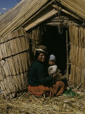 Uro Indian Woman and Baby, Lake Titicaca, Peru, South America by Sybil Sassoon